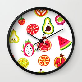 Colorful Fruit Slice Marker Pattern Wall Clock