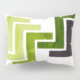 Sap Green Pattern Mid-century Modern Simple Geometric Pattern Watercolor Minimalist Art Squares Pillow Sham
