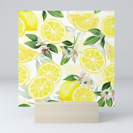 mediterranean summer lemon fruits on white Mini Art Print