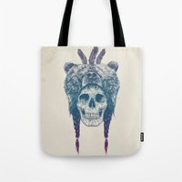 dead Tote Bags featuring Dead shaman by Balazs Solti