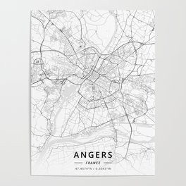 Angers, France - Light Map Poster