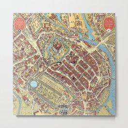 Vintage Map of Celle, Germany Metal Print