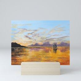 sunset painting ship on the sea Mini Art Print
