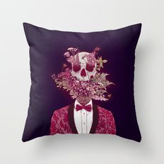 Skull Blossom Throw Pillow