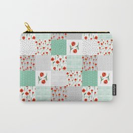 Poppies quilt pattern mint floral flowers patterned florals squares Carry-All Pouch