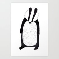 badger Art Prints featuring Badger  by Jilly Bird