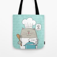 chef Tote Bags featuring Chef cat, chef hat, ZWD009S6 by ZeeWillDraw