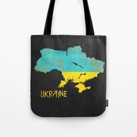 ukraine Tote Bags featuring Ukraine Vintage Map by Finlay McNevin