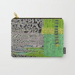 Jagged Grey Green Abstract Art Collage Carry-All Pouch