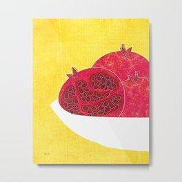 Pomegranates on Yellow Metal Print