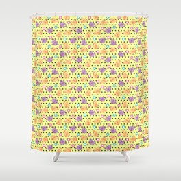 Freely Birds Flying - Fly Away Version 2 - Daffodil Color With Charcoal Dots Color Shower Curtain