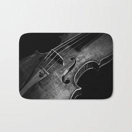 Black and White Violin Bath Mat