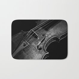 Black and White Violin Bath Mat