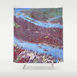 NEW YORK CITY Manhattan city old map Father Day art print poster Shower Curtain