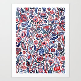 Botanical in red and blue Art Print