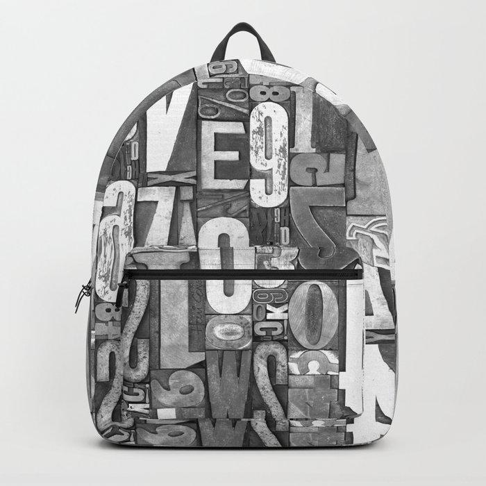 Lettepressed B&W Backpack