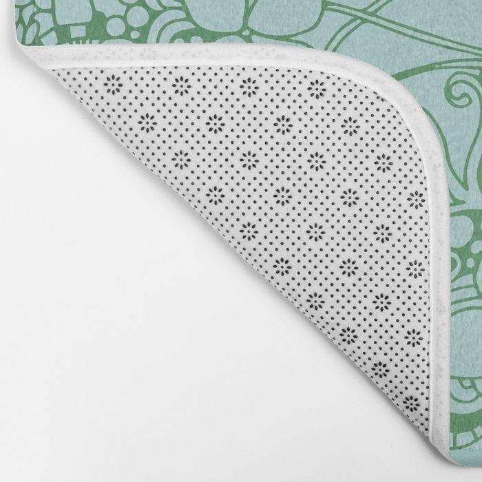 Blue square, green floral doodle, zentangle inspired art pattern Bath Mat
