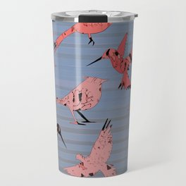Pink birds, denim stripe Travel Mug