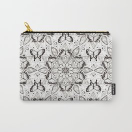 Butterfly Mandala - black and white Carry-All Pouch