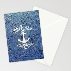 White Nautical Anchors Blue Vintage Wood Texture Stationery Cards