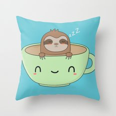 Kawaii Cute Lazy Sloth Throw Pillow