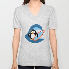Penguin surfer Unisex V-Neck