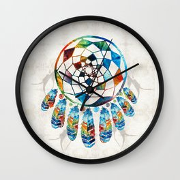 Native American Colorful Dream Catcher by Sharon Cummings Wall Clock