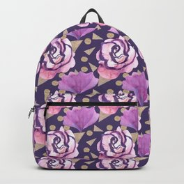 Boho Florals Roses and Gold Backpack