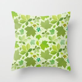 green leaves pattern, green foliage without gradient for printing Throw Pillow