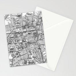 Vintage Map of Bruges (1905) BW Stationery Cards