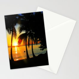 Sunset on Exotic Beach Stationery Cards
