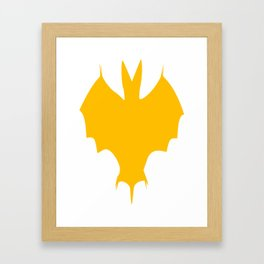 Orange-Yellow Silhouette Of a Bat  Framed Art Print