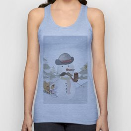 Winter Wonderland - Funny Snowman and friends - Watercolor illustration III Unisex Tank Top