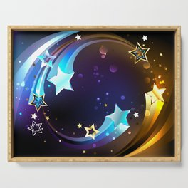 Background with Bright Comets Serving Tray