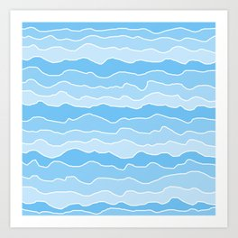 Four Shades of Turquoise with White Squiggly Lines Art Print