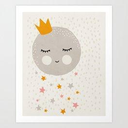 Moon Stars, Mid century modern kids wall art, Nursery room Art Print