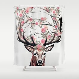 Deer and Flowers Shower Curtain
