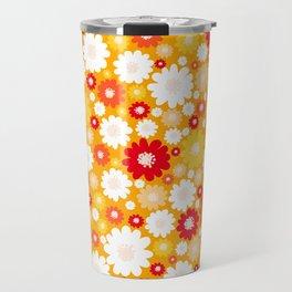 Small Daisy pattern - orange, red, yellow Travel Mug