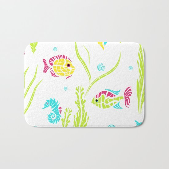 Cartoon Marine fish . Bath Mat