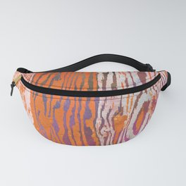 Modern Faux Bois Woodgrain Pattern Art Print - Tangerine Orange Fanny Pack