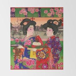 Two Geishas Throw Blanket