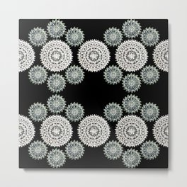 Silver and Black Mandala Circles Metal Print