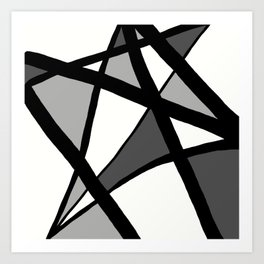 Geometric Line Abstract - Black Gray White Art Print
