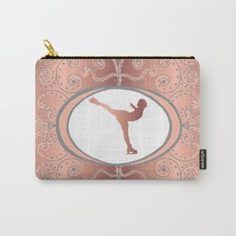 Figure Skating Collection in Delicate Rose Gold Foil Effect and Grey Design Carry-All Pouch