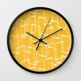 Retro Yellow Geometric Shapes Pattern Wall Clock