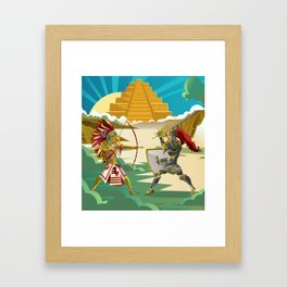 european knight fighting an aztec warrior in the jungle Framed Art Print