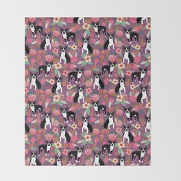Boston Terrier floral black and white coat essential gifts for boston terriers owners florals Throw Blanket