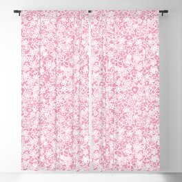 Flower doodle in rose Blackout Curtain