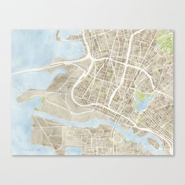 Oakland California Watercolor Map Canvas Print