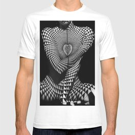 0622-JAL Heart Shape Pattern on Breasts and Nude Body Abstracted by Optical Patten T-shirt